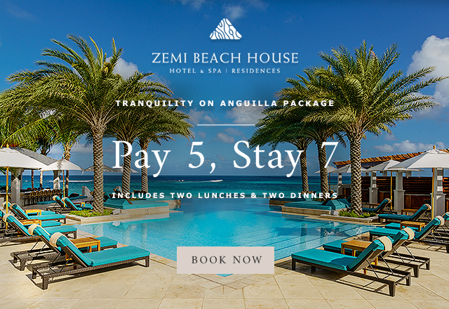 Tranquility on Anguilla Package Pay 5, Stay 7 Includes two lunches & two dinners Book Now!